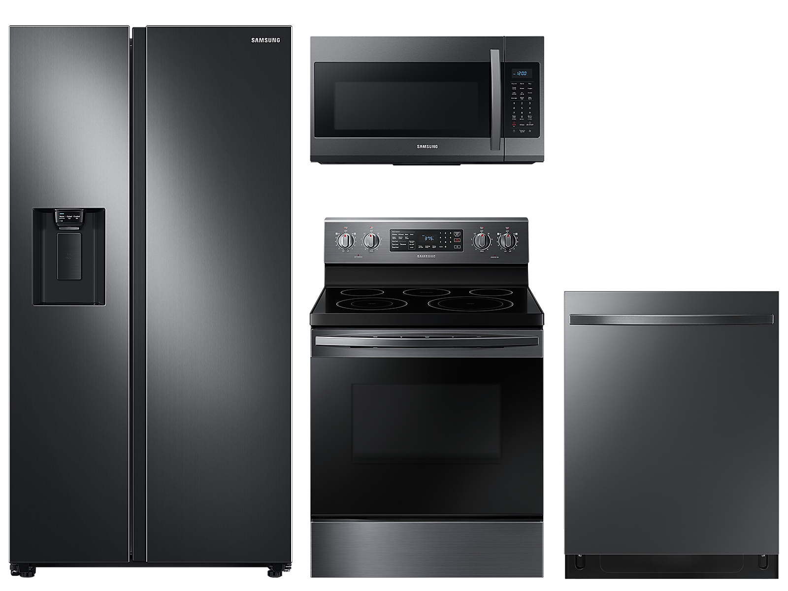 Samsung coupon: Samsung Counter Depth Side-by-Side refrigerator & electric range package in Black stainless(BNDL-1590168995114)