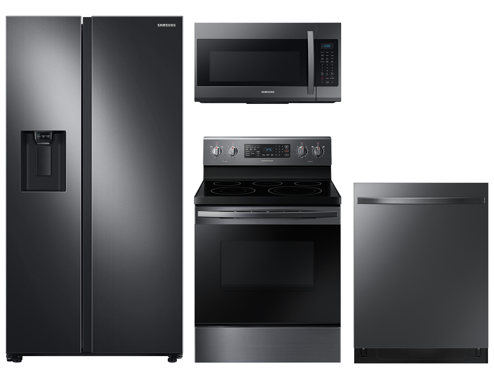 Samsung Counter Depth Side-by-Side refrigerator & electric range package in black stainless