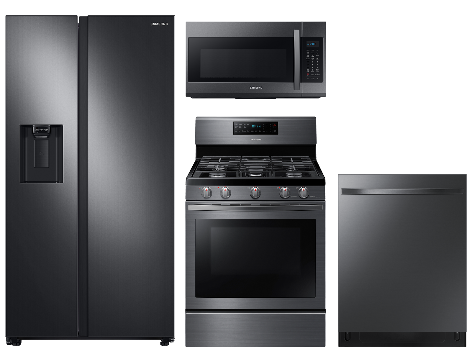 Samsung Counter Depth Side-by-Side refrigerator & gas range package in black stainless