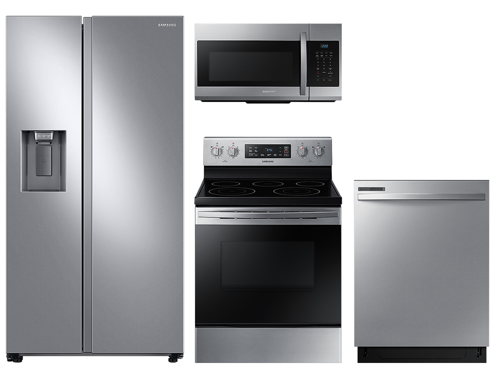 Samsung coupon: Samsung Large capacity Side-by-Side refrigerator & electric range package in Stainless Steel(BNDL-1590166657161)