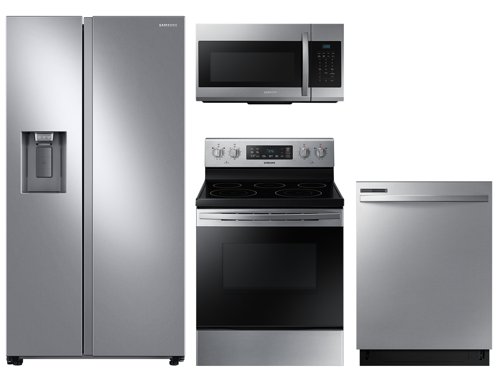 Samsung Large capacity Side-by-Side refrigerator & electric range package in stainless steel
