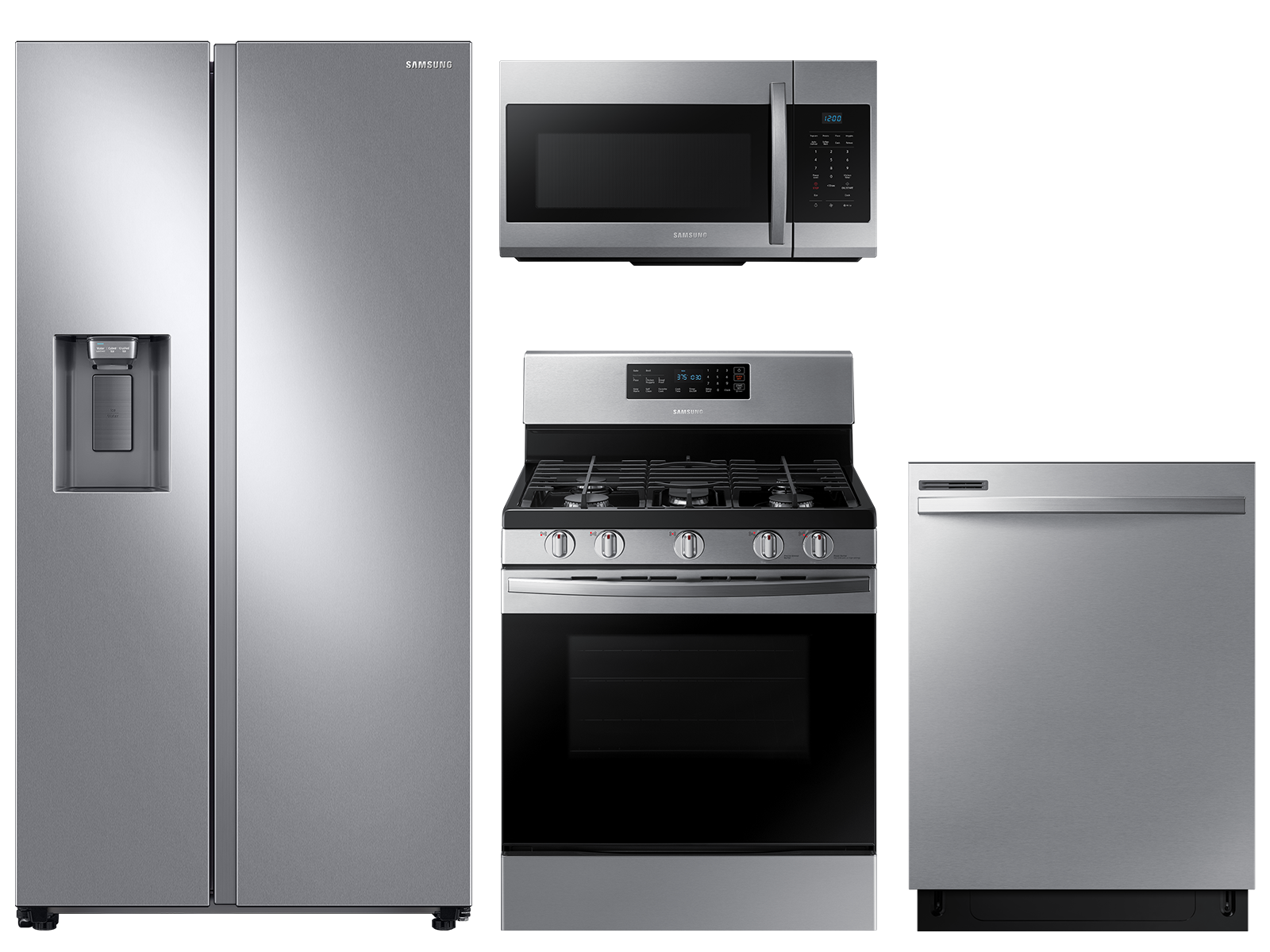 Samsung Large capacity Side-by-Side refrigerator & gas range package in stainless steel