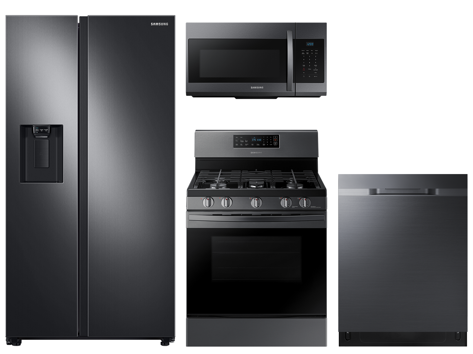 Large capacity Side-by-Side refrigerator & gas range package in black stainless