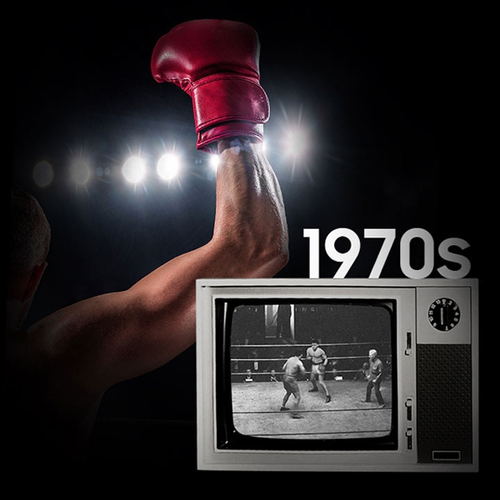 background image of a boxer with arm and gloved hand raised in victory. Showing on the screen of 1970's era television is a black and white image of a boxing match.