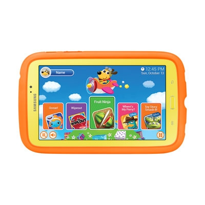 Samsung Galaxy Tab 3 7.0 Kids (Certified Refurbished), Yellow with Orange Bumper Case