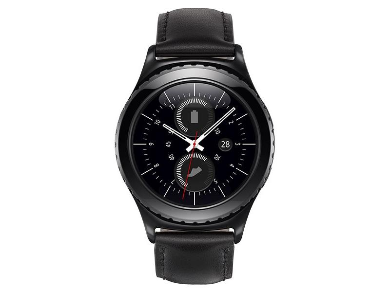 d9e819e3b Samsung Gear S2 classic Smartwatch: Black Leather Strap - R7320ZKAXAR
