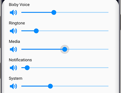 Bixby Voice and other volumes with volume slider