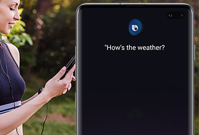 Women asking Bixby about the weather