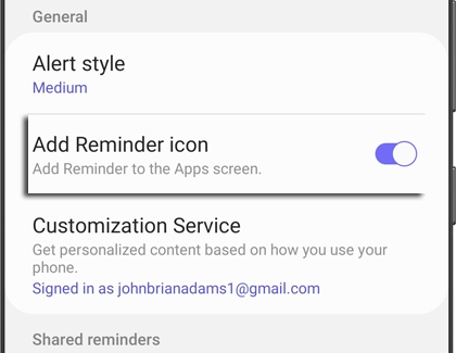 Reminder app with Settings icon next to it