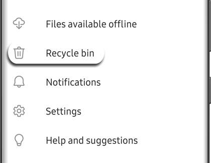 The Recycle bin selected in OneDrive