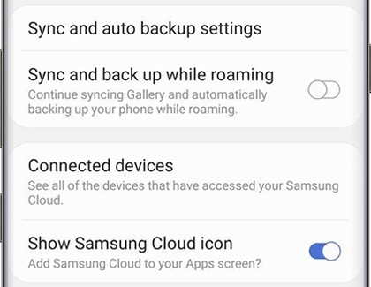 Samsung Cloud settings with Show Samsung Cloud icon switch on