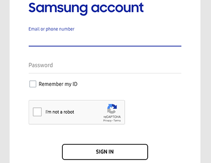 Samsung account sign in screen