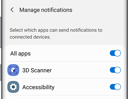 Manage notifications screen with a list of apps