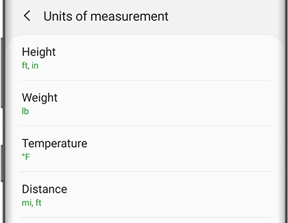 Units of measurement screen with a list of options