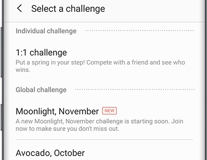 Select a challenge screen with Individual challenge and Global challenge categories