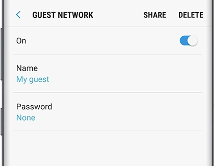 Share Guest Network options