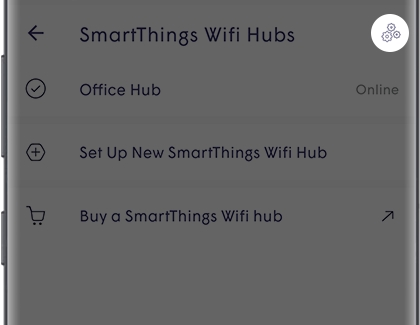 SmartThings Wifi Hubs in Plume with the Advanced Settings icon highlighted