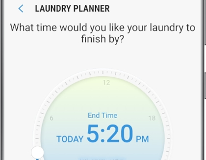 The Laundry Planner screen in the SmartThings app