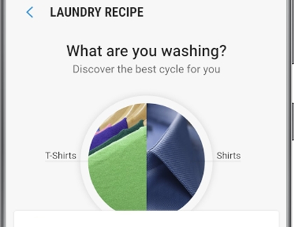 The Laundry Recipe screen in the SmartThings app