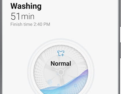 A Samsung washing machine cycle in progress displayed in the SmartThings app