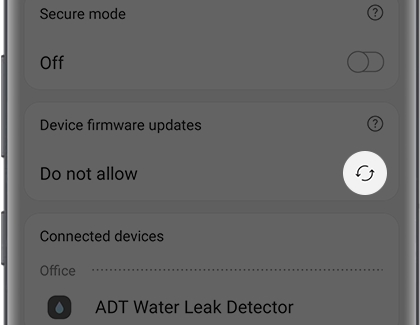 Wifi hub screen with the Arrow icon highlighted under Device firmware updates