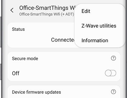 Menu showing options for SmartThings Hub