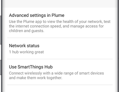 Network status with 1 hub working great displayed below it