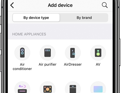 A list of devices with Add device displayed at the top on the SmartThings app
