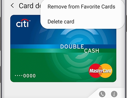 Option to Remove from Favorite Cards in Samsung Pay