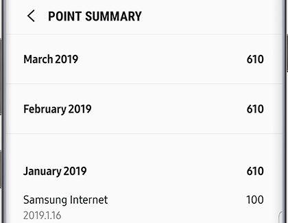 Samsung Rewards Point Summary