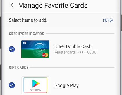 Two cards displayed as Favorite Cards in Samsung Pay
