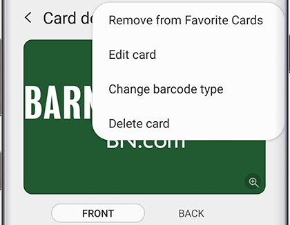 Option to remove a membership card from Samsung Pay