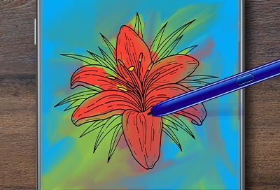 An S Pen coloring a flower in PENUP