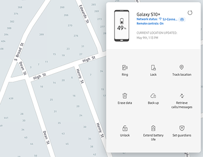 Options in Find My Mobile for Galaxy S10+