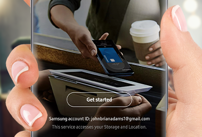 Person using Samsung Pay on Galaxy phone