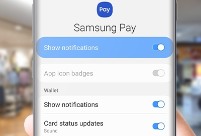 Person managing notifications in Samsung Pay