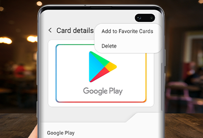Card details more options screen on S10+