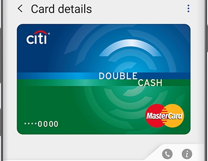 Citi Card details displayed in Samsung Pay