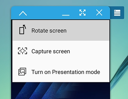 Rotate screen highlighted in SideSync