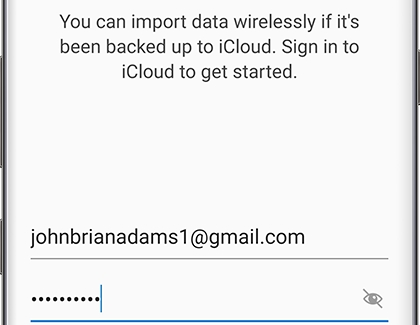 iCloud sign in screen for Smart Switch transfer