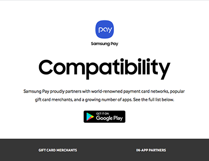 Samsung Pay Compatibility website