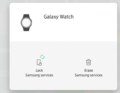 The Find My Mobile menu for Galaxy Watch