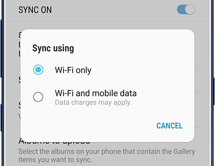 Sync Using Wi-Fi or Mobile Data