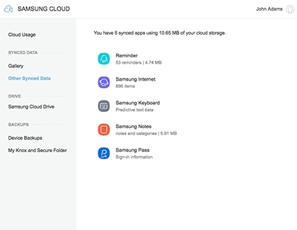 Other Synced Data in Samsung Cloud