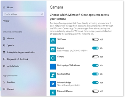 Camera access settings