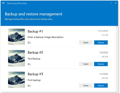 Backup and restore management window with a list of backups