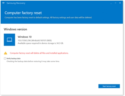 Computer factory reset window with a warning and Start factory reset button