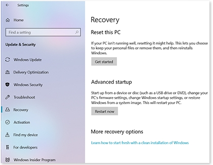Windows Recovery screen with options for resetting PC