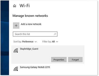 Known networks settings page