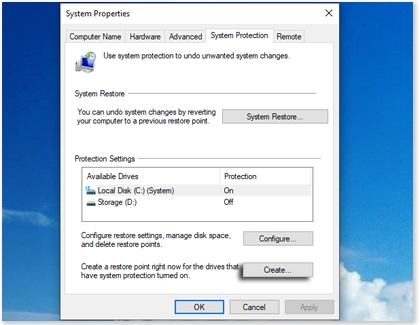 Create option highlighted under System Protection on a Samsung Windows PC